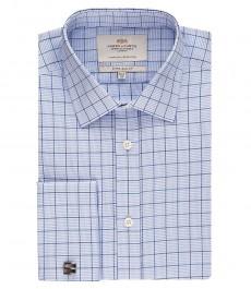 Мужская экстраприталенная рубашка, голубая в белую клетку - манжеты под запонку