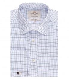 Мужская экстраприталенная рубашка, голубая в темно-синюю клетку - манжеты под запонку
