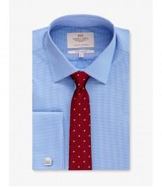 Мужская экстраприталенная рубашка, голубая в белую клетку - Манжеты под запонки - Легко гладится