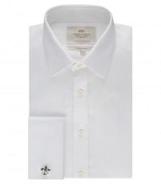 Мужская экстраприталенная рубашка, белая твил - манжеты под запонку - легко гладятся