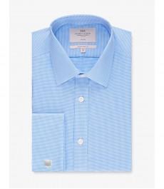 Мужская экстраприталенная рубашка, голубая, текстурированная ткань - Не требует глажки - Манжеты под запонки
