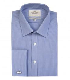 Мужская голубая с белым рубашка в мелкую полоску, экстаприталенная-двойная манжета.