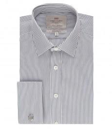 Мужская белая рубашка в темно-синюю полоску, экстраприталенная - манжеты под запонку