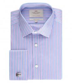 Мужская рубашка экстраприталенная, голубая в фиолетовую полоску - манжеты под запонку