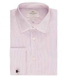 Мужская экстраприталенная рубашка, красная в голубую полоску - манжеты под запонку - легко гладится