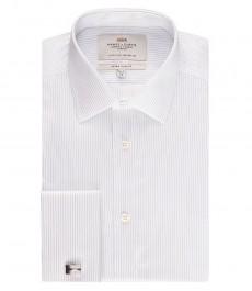 Мужская экстраприталенная рубашка, голубая в белую полоску - манжеты под запонку - легко гладится