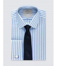 Мужская офисная экстраприталенная рубашка Голубая & Белая широкая полоска - под запонку - не требует глажки