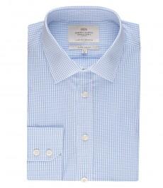 Мужская рубашка, белая в голубую клетку, экстраприталенная - манжеты на пуговицах