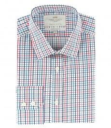 Мужская экстраприталенная рубашка в красно-синюю частую клеточку - под пуговицу