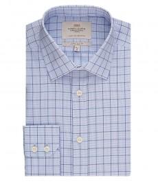Мужская экстраприталенная рубашка, голубая в белую клетку - манжеты на пуговицах