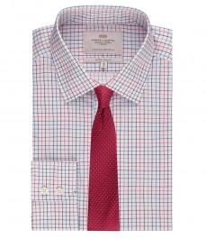 Мужская экстраприталенная рубашка, красная в темно-синюю клетку - манжеты на пуговицах - легко гладится
