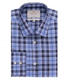 Мужская экстраприталенная рубашка, темно-синяя в голубую клетку - манжеты на пуговицах