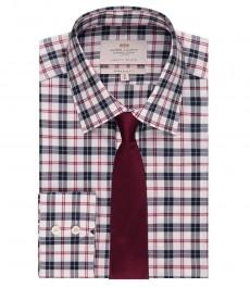 Мужская экстраприталенная рубашка, темно-синяя в красную клетку - манжеты на пуговицах