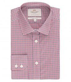 Мужская экстраприталенная рубашка, красная в темно-синюю клетку - полусрезанный воротник - манжеты на пуговицах - легко гладится