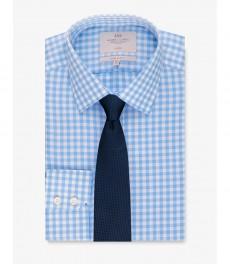 Мужская экстраприталенная рубашка, голубая в белую крупную клетку - Не требует глажки - Манжеты на пуговицах