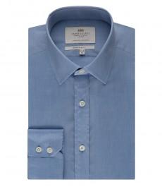 Мужская экстраприталенная рубашка, светло-голубая - манжета на пуговицах