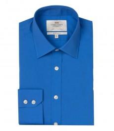 Мужская экстраприталенная офисная рубашка St. James, синяя, - Одиночная Манжета
