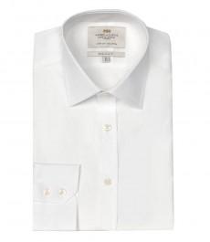 Мужская белая экстраприталенная бизнес рубашка ткань поплин - Одинарная манжета