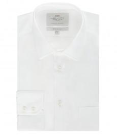 Мужская экстраприталенная рубашка, белая поплин - манжеты на пуговицах