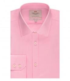 Мужская экстраприталенная рубашка, розовая, ткань переплетение - манжеты на пуговицах