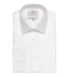 Мужская белая рубашка твил, экстраприталенная - на пуговицах