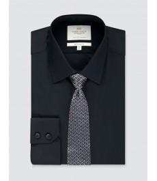 Мужская офисная экстраприталенная чёрная рубашка, стрейч - рукав под пуговицу