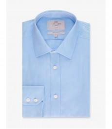 Мужская экстаприталенная рубашка, голубая твил - Легко гладится - Манжеты на пуговицах