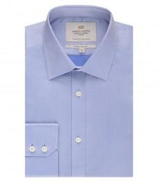 Мужская экстраприталенная рубашка, ткань пике, голубая - манжеты на пуговицах - легко гладится