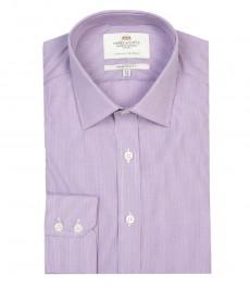 Мужская экстраприталенная офисная рубашка St. James, сиреневая с белым тонкая полоска, - Одиночная Манжета