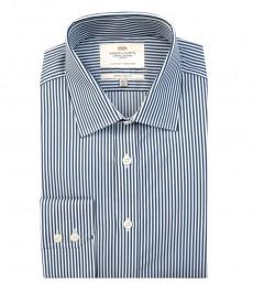 Мужская экстраприталенная рубашка, темно-синяя в белую полоску - манжеты на пуговицах