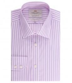 Мужская экстраприталенная рубашка, розовая в темно-синюю полоску - манжеты на пуговицах
