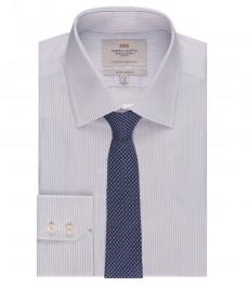 Мужская экстраприталенная рубашка, белая в голубую полоску  - манжеты на пуговицах - легко гладится