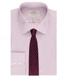 Мужская экстраприталенная рубашка, красная в голубую полоску - манжеты на пуговицах - легко гладится