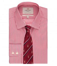 Мужская экстраприталенная рубашка, красная в белую полоску - манжеты на пуговицах - легко гладится