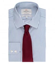 Мужская экстраприталенная рубашка, темно-синяя в белую полоску - манжеты на пуговицах - легко гладится
