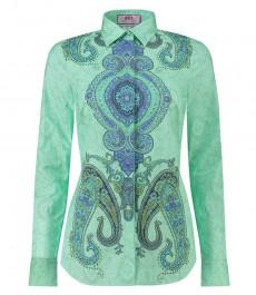 Женская полуприталенная рубашка мятного цвета с синим принтом пейсли - под пуговицу