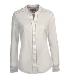 Женская однотонная полуприталенная белая рубашка с кружевами