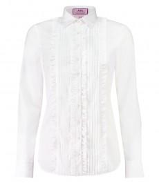 Женская полуприталенная рубашка белая с оборками - манжеты на пуговицах