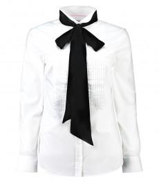 Женская рубашка, полуприталенная, белая с черным шейным воротником - манжеты на пуговицах