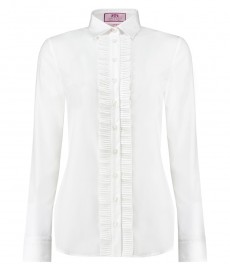 Женская рубашка, белая полуприталенная с оборками вдоль линии пуговиц