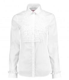 Женская полуприталенная рубашка, белая с жабо - манжеты на пуговицах