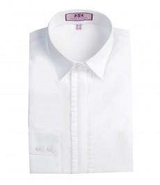 Женская полуприталенная белая хлопковая рубашка - с оригинальной планкой в складку