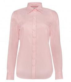 Женская светло-розовая рубашка, полуприталенная, ткань твил, манжеты под пуговицу - 100 хлопок