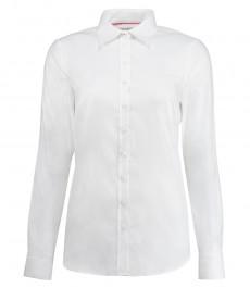 Женская рубашка, белая, твил, полуприталенная манжеты под пуговицу - хлопок