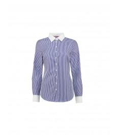 Женская полуприталенная рубашка, в тёмно-синюю с белой полоску, коллекция Executive - 2-х слойный хлопок 100s
