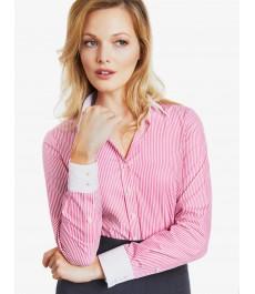 Женская полуприталенная рубашка, розовая в белую полоску - Манжеты на пуговицах