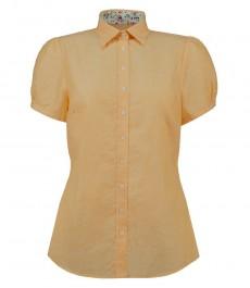 Женская полуприталенная рубашка, жёлтая, короткий рукав, лён