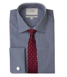 Мужская приталенная рубашка, белая в темно-синюю клетку - манжеты под запонку - легко гладится