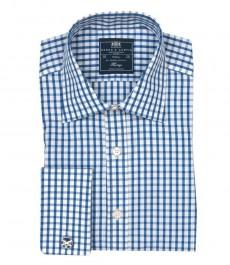 Приталенная мужская рубашка St James , белая с голубым средняя клетка, двойная манжета