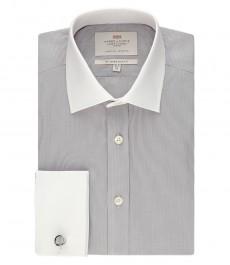 Мужская рубашка, серая с белым, мелкая ломанная клетка, приталенная с контрастно белым воротником и манжетами - манжеты под запонку